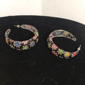"""""""EARRINGS"""" Floral Hoop  Pierced Earrings."""